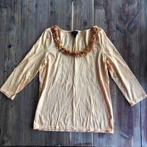 Talbots Light Orange 3/4 Sleeve w/ petal neckline